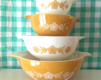 Pyrex Butterfly Gold Cinderella Bowl set #441, 442, 443, and 444