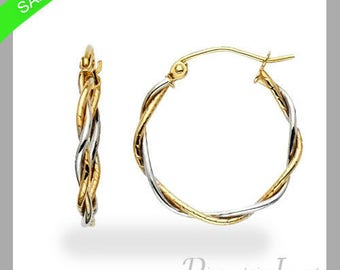 Two Tone Twisted Hoop Earrings 14k Yellow And White Gold Now On Sale