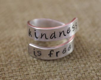 Kindness is Free 925 sterling silver wrap ring