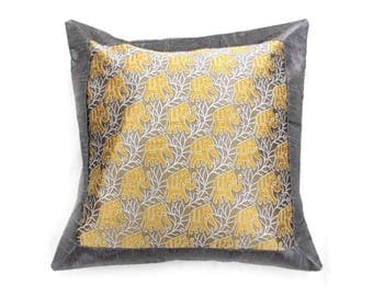 """Indian Silk Cushion Cover Home Floral Design Work Decorative Silver Color Size 17x17"""""""