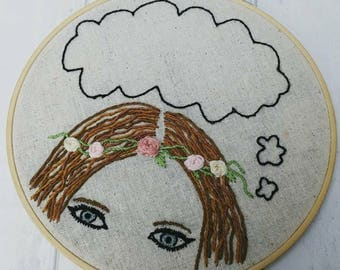 Personalised embroidery hoop, thinking wall art, any quote, boho art, hippy gift for her, hand embroidered home decor, christmas present