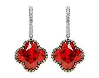 Sparkling Ruby Flower Earrings
