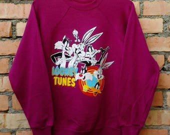 Rare!!! Vintage Looney Tunes Cartoon Sweatshirt Pullover Medium Size