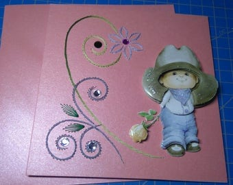 Embroidered card 3D 668