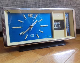 Vintage Mechanical Wind Up Alarm Clock- Shanghai with Flip Date and Thermometer
