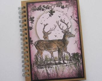 Lined notebook, OOAK notebook,Deer notebook Pocket journal, Pocket notebook,Scenic notebook