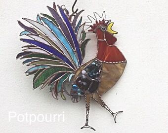 Stained glass cock/Fensterbild/garden plug/stained jar/Tiffany/Glasmalerei/Light Play