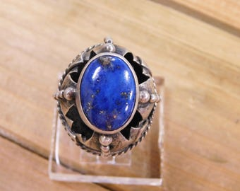 Unique Sterling Silver Hollow Ring with Lapis