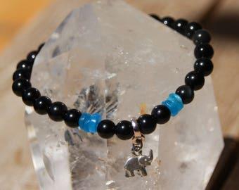 Obsidian and apatite heishi bracelet
