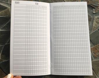 HABIT TRACKER Monthly STANDARD Traveler's Notebook Planner Insert [1 Year]