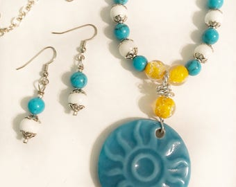 Blue Ceramic Sun Pendant, Beaded Sun Necklace and Earring Set, Blue Glass Bead With White Bead Silver tone Chain Long Necklace, Summer Set