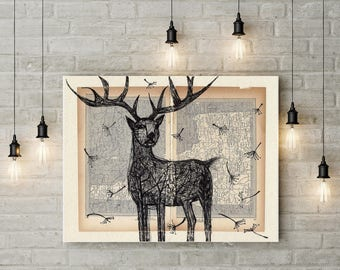 Deer Wall Art, Living Room Art Print, Deer Painting, Deer Print, Painting on World Map, Old Book Painting, Deer Illustration