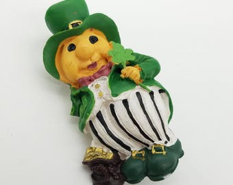 Old Stock Resin Leprechaun Lapel Pin / Brooch - St. Patrick's Day Jewelry