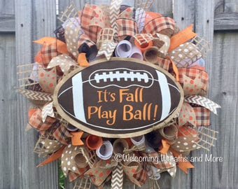 Fall Football Wreath, Fall Wreath, Football Wreath, It's Fall Play Ball Wreath, Fall Burlap Mesh Wreath, Fall Door Wreath, Fall Mesh Wreath