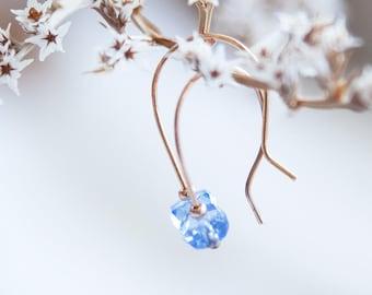Rose Gold Sapphire Earrings Sapphire September Birthstone Earrings Tiny Rose Gold Earrings Tiny Sapphire Earrings Sapphire Rose Gold Earring