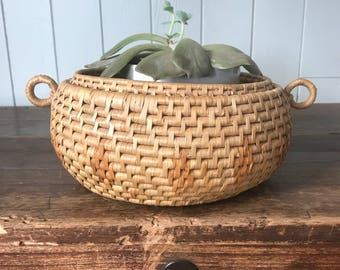 Vintage woven basket/ Bohemian Decor
