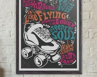 Wall Art, I Skate Because, Roller Derby, Art Prints, Art Posters, Print Posters, Skating, Retro, Roller Skate