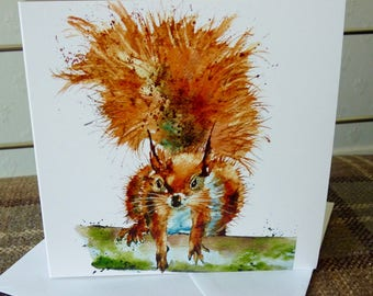Rusty Squirrel - a NEW greetings card from a watercolour by Pauline Merritt