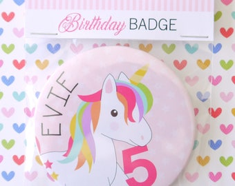 Personalised Unicorn Girls Age Badge,1st, 2nd,3rd, 4th, 5th, 6th, 7th, 8th, 9th
