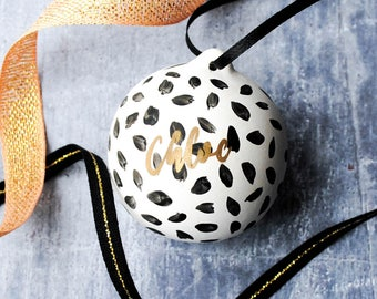 Black and Gold Dotty Personalised Name Bauble