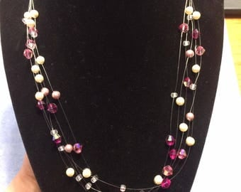 Floating Illusion Swarovski Pearl Necklace in Pink