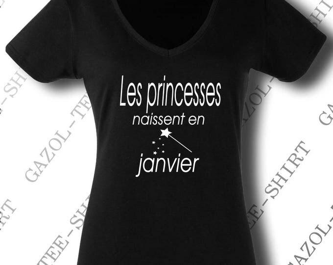 """Tee-shirt """"Les princesses naissent en janvier."""" offrir cadeau personnalisable fête anniversaire."""
