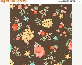 """20% Off Woodland Clearing Multi Colored Floral Print on Brown Lawn Fabric For Lingerie, Lining, and Quilting 100 Percent Cotton 44"""" Wide - H"""