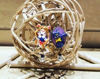 Sailor Moon and Moon pendant earrings