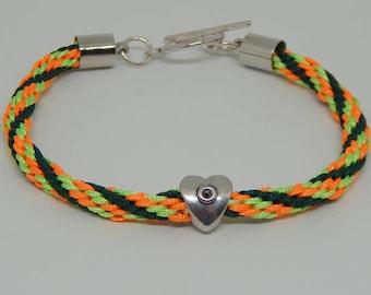 Orange green woman kumihimo braided bracelet
