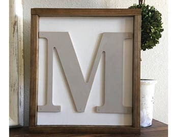 Initial wood sign