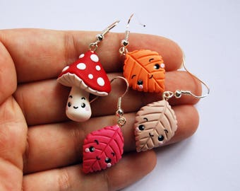 Mushroom earrings and leaves in fimo-Kawaii Collection Autumn