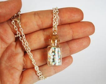 Necklace with miniature Marshmallows Flask fimo (pink, yellow, blue)