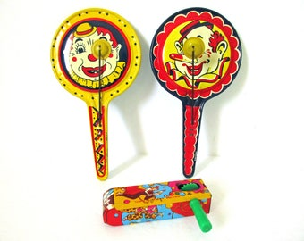 Tin Litho Noisemaker Toys, Lot Lithograph Tin Noise Makers, US Metal Toy Mfg Co, Kirchhof Tin Litho Toys, Life Of The Party Products, clown