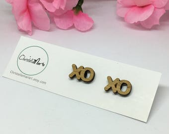 Wooden XO Earrings, wooden X and 0 studs, laser cut earrings, hug and kiss, lover, gift, present for her