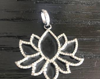 Lotus Pendant | Pave Diamond Lotus Pendant | Enamel Pendant | Pave Diamond Pendant | Pave Diamond | Pave Clasp | Yoga Necklace