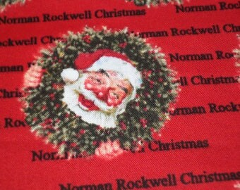 Santa Fabric/ Norman Rockwell 2017 fabric/ Christmas Fabric/  Sold by the yard