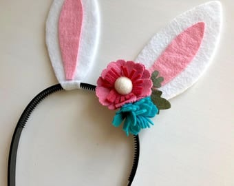 Felt bunny rabbit ear headband - rose pink and turquoise flowers with green leaves
