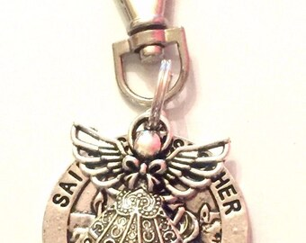 St Christopher & Guardian Angel swivel keyring, bag purse clip on Gift