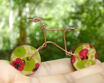 Fairy Bicycle,  Miniature Wire and Button Bicycle, Fairy Garden Accessory, Cottage Garden Bike