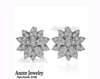 14k Solid White Gold Genuine Diamond Russiam Style Earrings   E1366