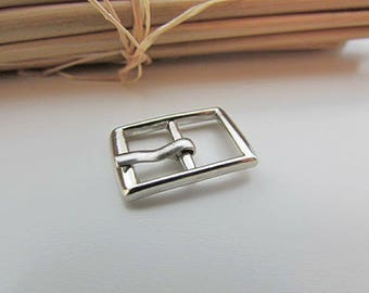 5 small belt buckle for strap max 9mm - silver metal - 1.9 x 1.2 cm - 17.52