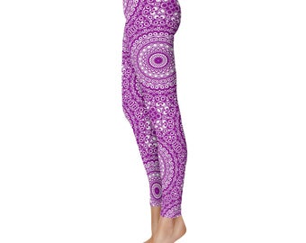 Stretch Pants Women - Yoga Leggings, Purple and White Printed Leggings, Mandala Yoga Tights