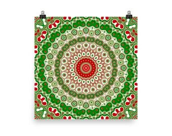 Christmas Art Print, Red and Green Mandala Art, Holiday Wall Decor, Festive Home Decor