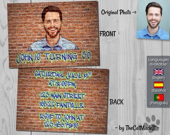 Graffiti Birthday Invitation - Street Art Digital Invite - Front and Back