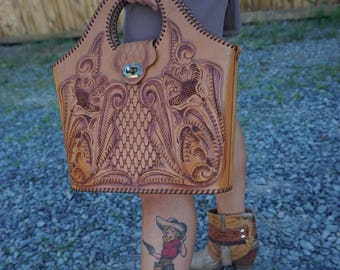 "The ""Luanne"" Vintage Tooled Leather Purse"