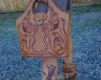 "The ""Luanne"" Vintage Tooled Leather Purse"