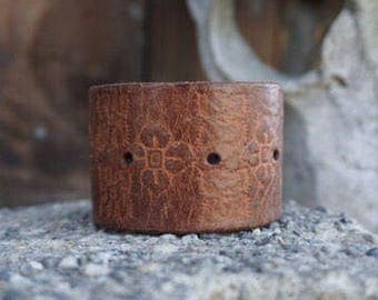Leather Bracelet Cuff Brown