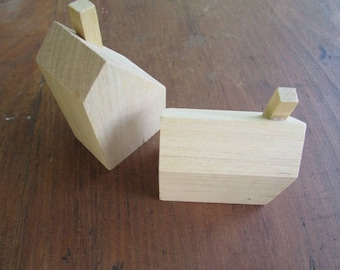 2 Wood House Blank Wooden Blocks Different Shapes
