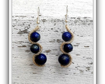 Earrings with glass beads, gems, pearls or stone