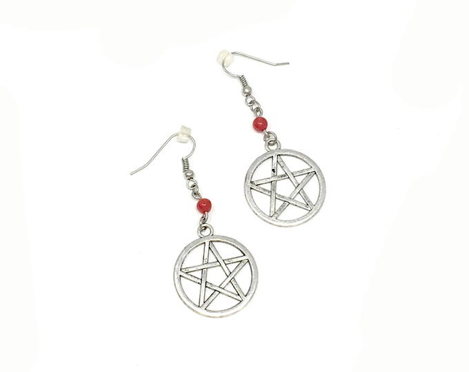 PENTACLE: red crystal wiccan earrings